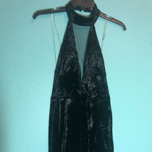 Velvet LBD with halter collar and sheer v neck